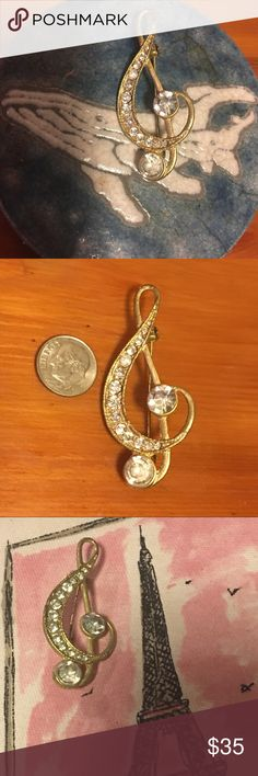 """G clef silver pin with jeweled details. Vintage? G clef silver pin with jeweled details. Vintage? Perfect for music lovers, teachers, students, writers. """"If music be the food of love, play on."""" - Shakespeare. Jewelry Brooches"""
