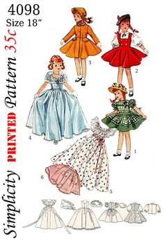Simplicity 4098 for 18 inch doll, evening dress, apron, hat, stole, etc. this is a reproduced pattern