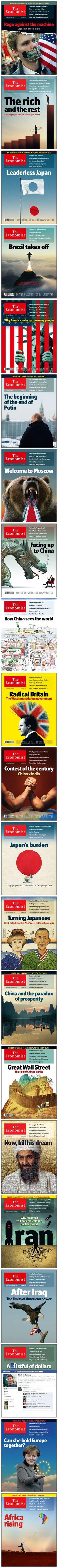 Covers of The Economist. Brilliant!
