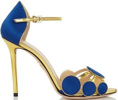 Charlotte Olympia Fall 2015 'Contemporary' Blue Silk Embellished Sandals - Buy Online - Designer Sandals #charlotteolympiaheelsuxuidesigner