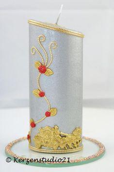 Wunderschöne Hochzeits-/Silberhochzeitskerze inkl. Untersetzer und inkl. Wunschbeschriftung... http://www.kerzenstudio21.de/product_info.php?info=p26_hochzeitskerze-4.html