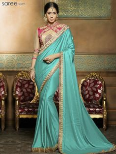 SEA GREEN CREPE SAREE WITH EMBROIDERY WORK
