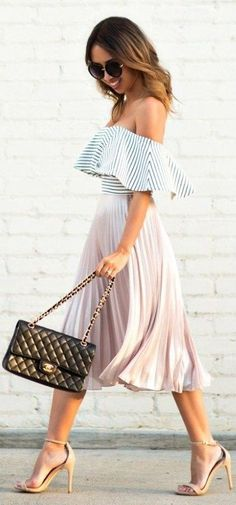 #spring #fashion | Off The Shoulder Stripe Top + Nude Pleated Skirt | Lace & Locks