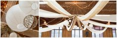 Laura & Ray - Wedding Ceiling Decor.  Cheesecloth, burlap, paper lanterns and jute orbs.  Rustic and elegant!