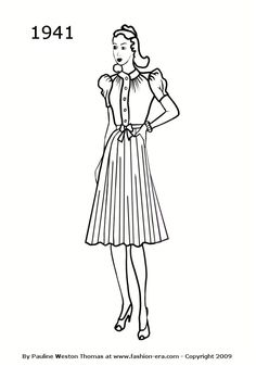 1941: square shoulders heavy shoes, short knee length pleated skirts, high round collars, limited buttons,