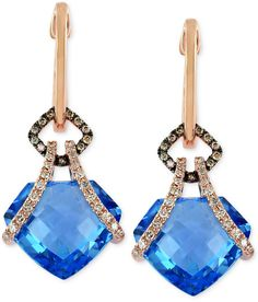 Bleu Rosé by EFFY Blue Topaz (18 ct. t.w.) and Diamond (3/8 ct. t.w.) Drop Earrings in 14k Rose Gold on shopstyle.com