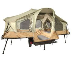 off road tent trailer- hubby wants one. and why not? size of a pop up, but can fold out 4x as big!