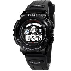 Waterproof Digital Sport Boys Watch for Students Kids. Suitable age: from 3 to 10 years old. Alarm, chronograph function. Watch band length: from 4.81 to 6.95 inches. Durable material, perfect design, Japanese quartz movement. Second, minute, hour, date, day, month display, backlight, water resistant.