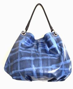 Simply Vera Vera Wang Blue Black Slouchy Faux Leather Hobo Bag Purse #SimplyVerabyVeraWang #HoboTote