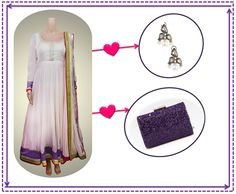 Dress it up:  Pearl white chanderi anarkali with neon borders, designed by Kanika Kedia, goes perfectly with shimmering silver earrings from Pernia's Pop Up Shop and a purplicious JIMMY CHOO clutch <3