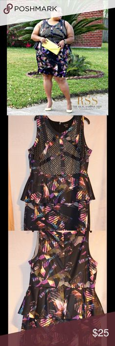 Abstract Black Peplum Dress Black mixed print Peplum dress. Nude underlay under the mesh. Size is a XL which is equivalent to a 22 City Chic Dresses Midi