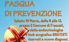 Frascati, arriva la Pasqua di Prevenzione: i festeggiamenti sono nei Castelli Romani all'insegna della prevenzione del tumore endocrino