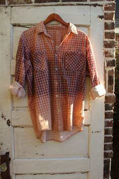 Distressed vintage flannel with pearl snap buttons