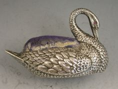 Early 20th Century Novelty Silver Swan Pin Cushion | Steppes Hill Farm Antiques | http://www.steppeshillfarmantiques.com/silver-and-porcelain/silver/pin-cushions
