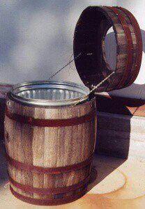 Whiskey barrel trash can. Patio area when entertaining.