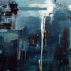 Blue abstract painting / Original landscape modern by MODERN707, $740.00