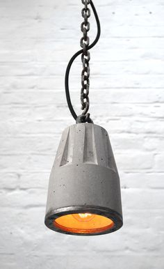"""Concrete Pendant lamp with hanging chain"" ""By Brutal Design"""