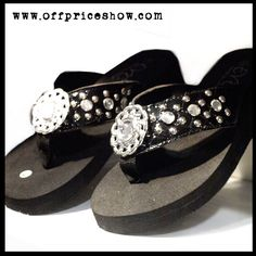 Black Flip Flops with #Silver Accents #FlipFlops are a great staple for any retail store. Stock your store with this popular item at up to 70% BELOW #wholesale prices. www.offpriceshow.com  #offprice #discount #footwear #boutique #buyer