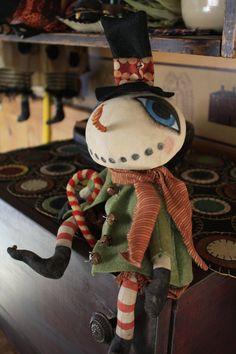Jack Frost  Primitive Folk Art Snowman by YankeeRidgePrimitive, $8.50