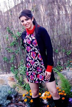 Just one Available! Size M/L- Red Turtle neck dress Flower print Long sleeves by MixeDesigns, Fall-Winter fashion!