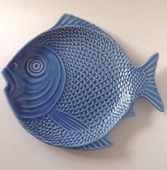 Bordallo Pinheiro Portugal Fish Plate Majolica Art Pottery Blue Platter