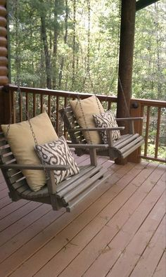 Rustic Porch with Porch swing chair, Porch swing, Deck Railing, Wrap around porc… - Modern Porch Furniture, Outdoor Furniture, Outdoor Decor, Outdoor Swings, Furniture Ideas, Porch Swings, Country Furniture, Furniture Layout, Farmhouse Side Table