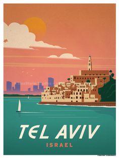 Travel Poster from IdeaStorm Tel Aviv Israel Ville France, Travel Illustration, Travel Themes, Cool Posters, Vintage Travel Posters, Adventure, World, Prints, Destinations