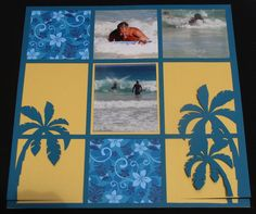 I like the colors and layout of this page. Hawaii - Fun in the water. Cruise Scrapbook Pages, Beach Scrapbook Layouts, Vacation Scrapbook, Scrapbook Designs, Disney Scrapbook, Scrapbook Sketches, Scrapbooking Layouts, Scrapbook Cards, School Scrapbook