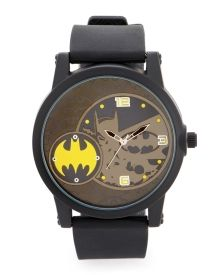 Dual Face Batman Watch - DC Comics fans love this watch, designed with an off-centered inner face featuring yellow numerals and the famous bat symbol. Rubber strap with buckle clasp makes it easy to adjust and wear anywhere the mission takes you!