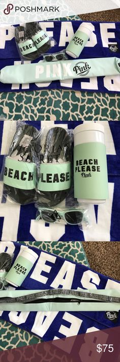 """VS PINK """" Beach Please """" bundle Victoria Secret PINK BEACH PLEASE bundle includes one beach please boyfriend towel, one teal PINK sun glasses, one teal Beach please water bottle to go cup, one beach please slip on sandals in teal color (size Medium) and finally one teal colored drink cooler that had an adjustable strap, slings around to take to the beach. Please comment with any questions, thank you so much for looking 😊 PINK Victoria's Secret Accessories"""