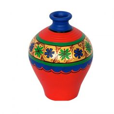 ExclusiveLane Terracotta Handpainted Mughlai Vase Matki Neck Red 6 Inch - Vase by ExclusiveLane for Beeja