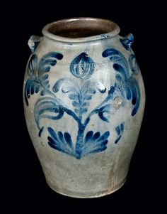 "Three-Gallon Stoneware Jar with Profuse Cobalt Floral Decoration, Stamped ""H.C. SMITH / ALEXA / D.C.,"" circa 1830. A well-decorated and early example of H.C. Smith stoneware, likely made shortly after the ""H. SMITH & CO"" stamp was discontinued. Provenance: A fresh-to-the-market example, recently found in Northern Virginia."