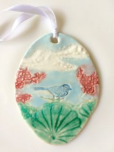 Bird Ornament, Christmas Ornament, aqua white blue red, ceramic ornament, hand painted, tree decoration, nature oranament, bird in tree,