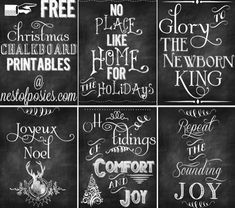 #Christmas Chalkboard printables from Nest of Posies