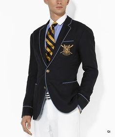 This new linen-cotton sport coat from Ralph Lauren has baby blue and yellow striped piping with the PRL paddle crest in gold. Preppy Mens Fashion, Fashion Outfits, Men's Fashion, Fashion Gallery, Preppy Style, Preppy Boys, Men's Style, Gentleman Style, Kids Outfits