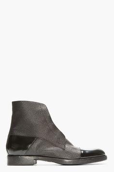 MR.HARE Black Scotchgrain & Matte Leather Boots