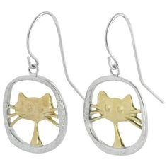 Sterling Silver Cat Earrings : The Animal Rescue Site