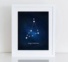 Capricorn Constellation Art Print Capricorn by DecorartDesign