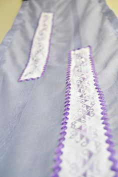 Lilac Table Runner with Handmade Crossstitch by BizimFlowers