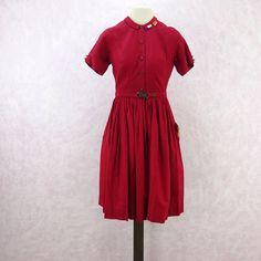 Vintage 60s Cotton Fit & Flair Shirt Dress, NWT