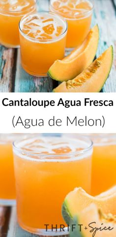 Cantaloupe Agua Fresca/Agua de Melon Cantaloupe agua fresca or agua de melon is one of the most delicious beverages you could serve this summer! Aguas frescas are usually made from fruit and are popular throughout Mexico. Juice Smoothie, Smoothie Drinks, Smoothie Recipes, Smoothies, Melon Smoothie, Refreshing Drinks, Yummy Drinks, Healthy Drinks, Mexican Drinks