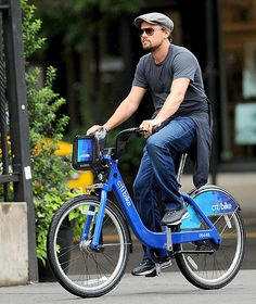 Leo CitiBikes It Leonardo DiCaprio rode a CitiBike — NYC's newly-launched bike-share program — in Soho July 1.