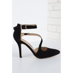 Give It A Whirl Court Heel Faux Suede Black