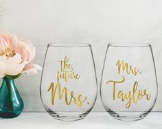 Personalized future Mrs wine glass/custom glass/custom wine glass/personalized glass/bride wine glass/bachelorette glass/stemless wine glass by CatePaperCo on Etsy https://www.etsy.com/listing/534574041/personalized-future-mrs-wine-glasscustom