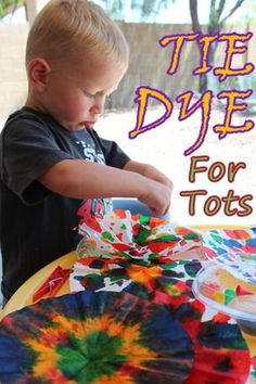 Tie-dye craft for kids. Paper towels would work as well as coffee filters - just square instead of round and food colouring could be watered down and still work well.
