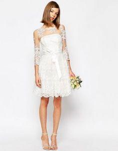 ASOS BRIDAL Long Sleeve Lace Mini Dress
