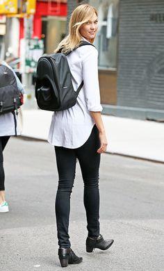 Karlie Kloss Made a Darth Vader Backpack Look Cool via @WhoWhatWear