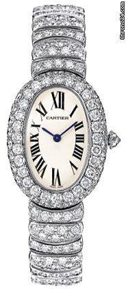 Cartier Baignoire 1920 Diamond 18kt White Gold Ladies Watch 18kt white gold case and bracelet set with round-cut diamonds