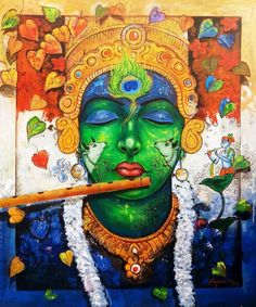 Size: 36x42 In Medium: Acrylic Color Surface: Canvas Religious Paintings, Indian Art Paintings, Religious Art, Original Paintings, Original Art, India Painting, Silk Painting, Artist Painting, Krishna Painting