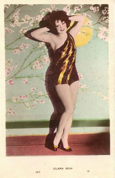 Clara Bow vintage tinted postcard.  The Wild Party, 1929.